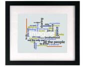 Imagine - John Lennon.  Song Lyric Art Print wall hanging, home decor, wedding gift idea