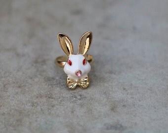 Cute bunny adjustable ring