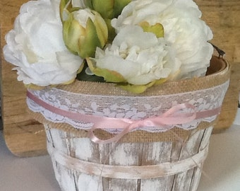 Wedding basket, flower girl basket, rustic basket, barn wedding, rustic wedding, country wedding, beach wedding