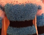 Bright Teal & Black Feathers and Fur Long Sleeved Sweater