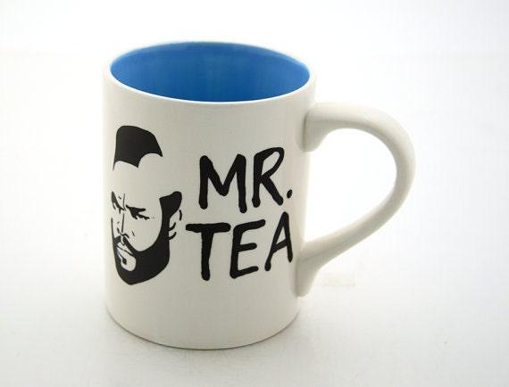 Mr Tea Mug Tea Cup Featuring Mr. T Turquoise Blue Interior White Exterior earthenware