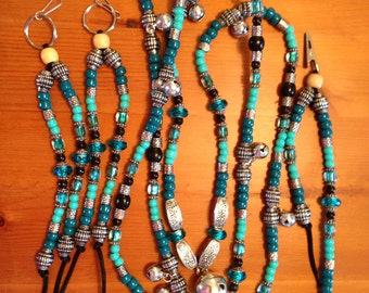 "Rhythm Beads Complete Set - Includes Rhythm Beads Necklace, 2 Saddle Dangles, and 1 Mane Clip -  ""Turquoise, Black and Silver"""