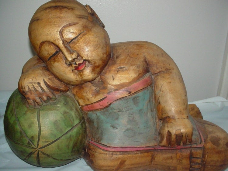 Asian Hand Carved Wooden Sleeping Baby Statues By