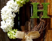 """Wreath, Personalized 18"""" Wreath with Green and Ivory Flowers and Moss Letter, Hydrangea Wreath, Monogrammed Wreath, Year Round Wreath"""
