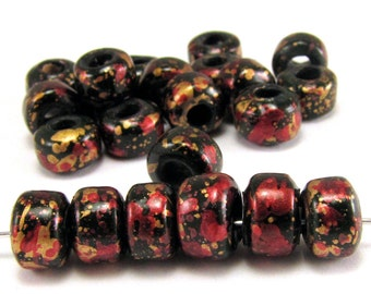 Black with Red and Gold 9mm Crow Beads 50pc #S5