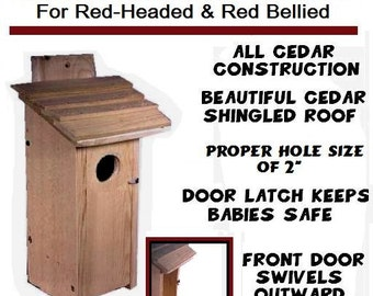 Ark Workshop Red Headed Red Bellied Woodpecker Cedar House Shelter Box ... also inquire about house available for Pileated Woodpeckers