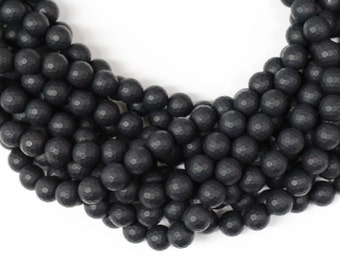"""Frosted Black Onyx 10mm faceted round beads 16"""" length strand"""