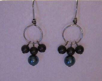 Teal & Black Pearl Bead Earrings