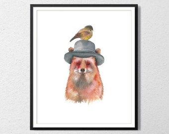 Fox with hat and bird Archival watercolor print
