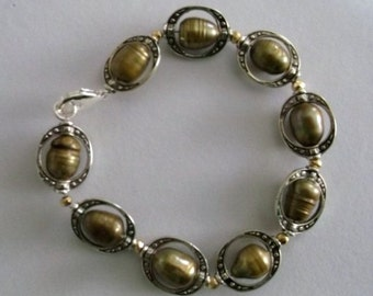 Silver and Golden Freshwater Pearl Bracelet with Pyrite Accents Approx. 8.5 inches  One of a Kind