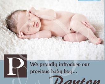 Baby Boy Custom Photo Birth Announcement
