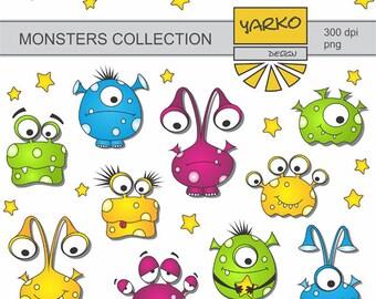 Cute Monsters Digital Clip Art, Aliens Digital Clip Art, Space Clip Art, Digital Clipart Pack, Instant Download - YDC126