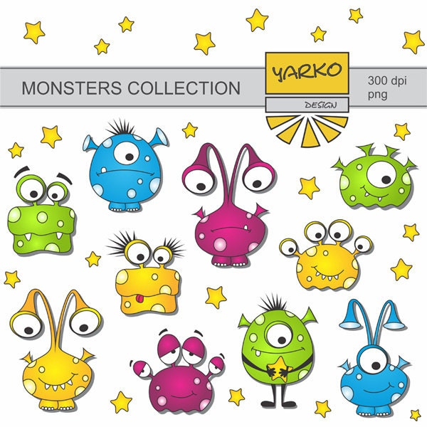 Süße Monster Digital ClipArt Aliens Digital ClipArt von YarkoDesign: https://www.etsy.com/de/listing/153205075/susse-monster-digital...