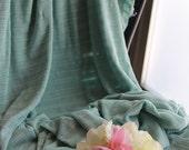 Aqua Sheer Stripe Jersey Sweater Knit Designer Apparel Fabric