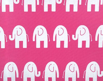 SHIPS FAST - 3 Yards White and Pink Elephant Fabric - Premier Prints Ele Candy Pink Nursery Fabric -  Fabric by the yard