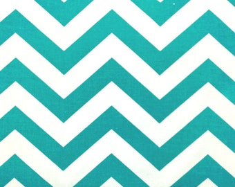 Ships Same Day Premier Prints Zig Zag True Turquoise and White Chevron Stripe Fabric by the yard