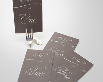 Wedding Table Numbers (15), Romantic Table Numbers, Calligraphy Table Numbers, Gray Table Numbers, Wedding Paper