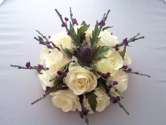 Stunning Scottish Rose & Heather Cake Topper