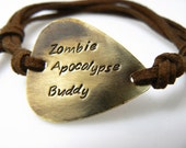 Guitar Pick Bracelet, Zombie Apocalypse Buddy, Walking Dead , Hand Stamped, Brass or Silver Aluminum, Halloween Jewelry,  Father's Day Gift
