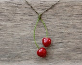Cherries Red Pendant - Berries pendant - Unique pendant - Botanical pendant