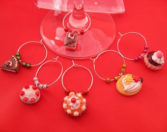 Set of 6 Handmade 'Cake Lovers'  Wine Glass Charms by libbysmarketplace