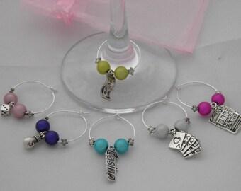 Set of 6 Handmade Casino Wine Glass Charms by libbysmarketplace