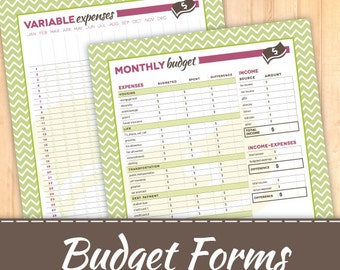 Budget Printable AND Variable Expenses, Instant Download