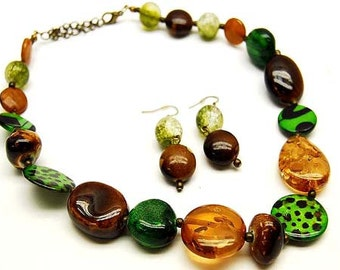 Beads Necklace & Earrings set with Animal Prints