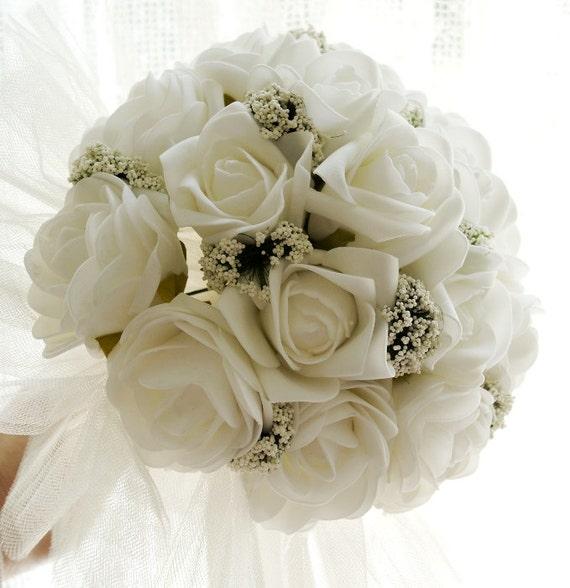 Button Bridal Bouquet Etsy : Items similar to flower bridal bouquet white roses