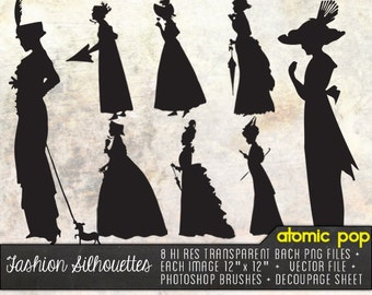 VIctorian Costume Silhouettes // Vector,  Decoupage Printout, Photoshop Brushes Clipart, and PNG Files