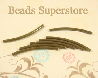 30 mm x 2 mm Antique Brass Curved Tube Spacer - Nickel Free and Lead Free - 20 pcs