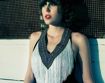 Fringe Dress, Fringe Halter Dress, Black Fringe Dress, Boho Fringe Dress, Made to Order, S, M, L, XL, Custom Size,