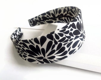 Fabric headband: black and white headband, fabric covered plastic headband with designer fabric.