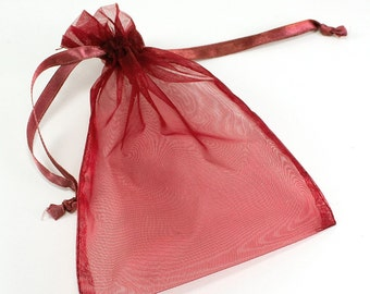 "Sheer Organza Bags with Drawstrings 5"" x 6.5"" (pack of 12)  - ** FREE SHIPPING **"