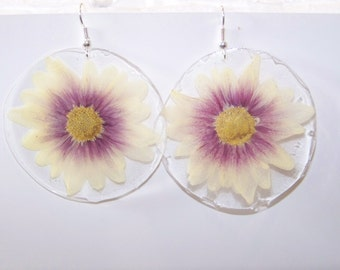Medium White and Pink Daisy Earrings