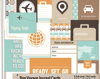 Bon Voyage Journal Cards - Instant Download - Printable journaling cards for Project Life and digital scrapbooking by Mira Designs