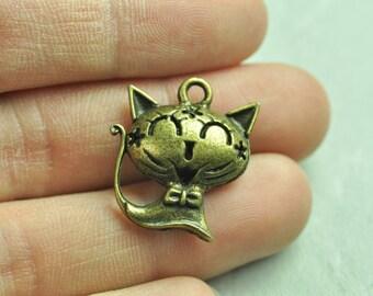 4pcs Antique Bronze Filigree 3D Cat Charms Hollow Out Cat 24x22mm K130