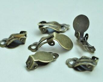 30pcs Antique Bronze Brass Ear Clip Earring Settings 18x10mm K043