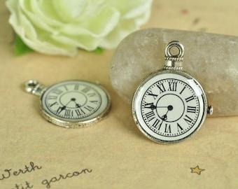 12pcs Clock Charm Antique Silver Small Clock Charm Pendant 25x19mm K508