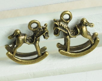 10pcs Antique Bronze Small Rocking Horse Charms 3D Horse Charms 15x15mm MM018