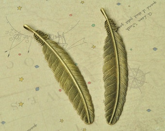 3pcs Antique Bronze Huge Feather Charms 106x22mm MM771