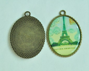 5pcs Antique Bronze Eiffel Tower Oval Base Charms 45x35mm K336