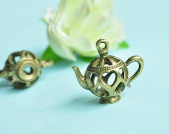3pcs Antique Bronze 3D Love Teapot Charms 25x22mm K196