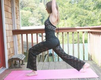 BLACK LACE stretchy yoga bohemian festival fashion flare pants