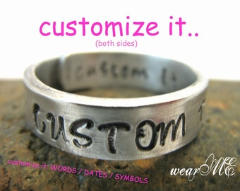 "Custom Aluminum Ring-"".. Adjustable aluminum Wrap Ring.. Personalized Ring.. Hand Stamped.."