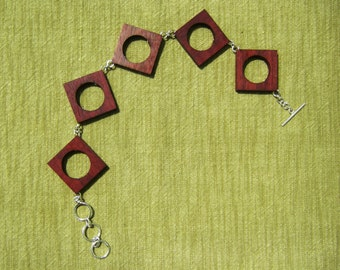 Open Square Purpleheart Wood Bracelet