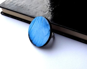 Blue butterfly wing ring - Butterfly Wing Jewelry - Butterfly wing ring - Summer jewelry - butterfly wing