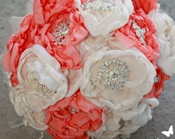 Gorgeous Coral and Ivory Fabric Peony Brooch Bouquet-comes with a sparkly handle-possibility of adding a touch of green