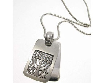 Sterling Silver Rectangular Menorah Necklace