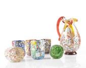 Murano Glass Tumblers Set - murrine colored genuine Italian piece - Trademark of Origin Guaranteed GOTO KAIA ACQUA - 6 + 1 pz